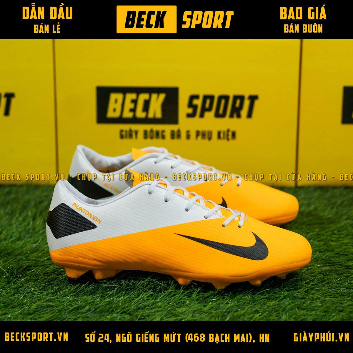Giày Bóng Đá Nike Phantom VSN II Cam Gót Trắng FG