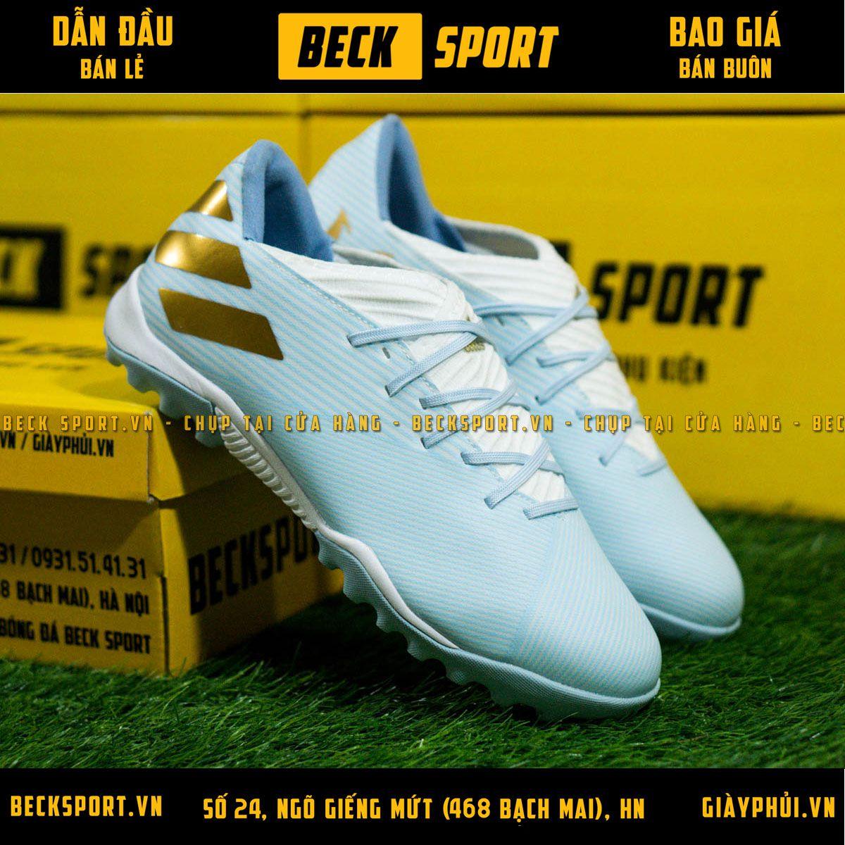 Giày Bóng Đá Adidas Nemeziz 19.3 Xanh Ngọc Vạch Đồng HQ TF