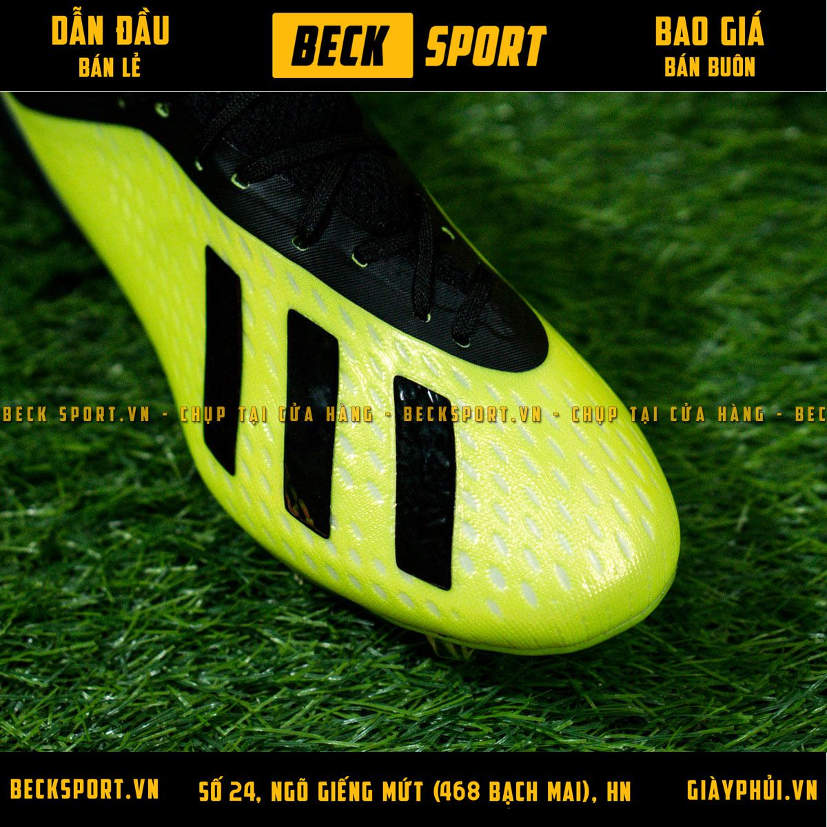Giày Bóng Đá Adidas X 18.1 Nõn Chuối Gót Đen FG