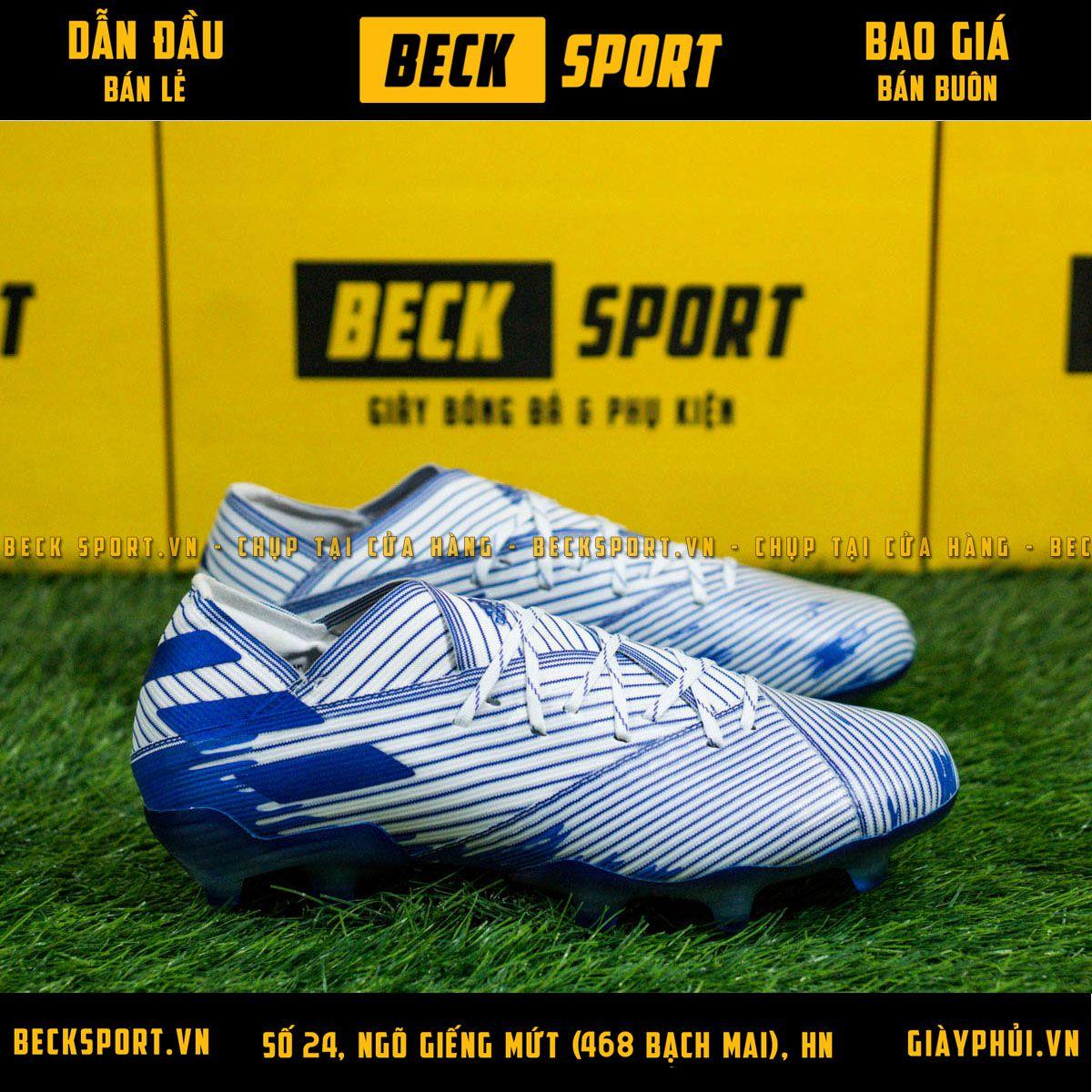 Giày Bóng Đá Adidas Nemeziz 19.1 Trắng Vạch Xanh Than FG