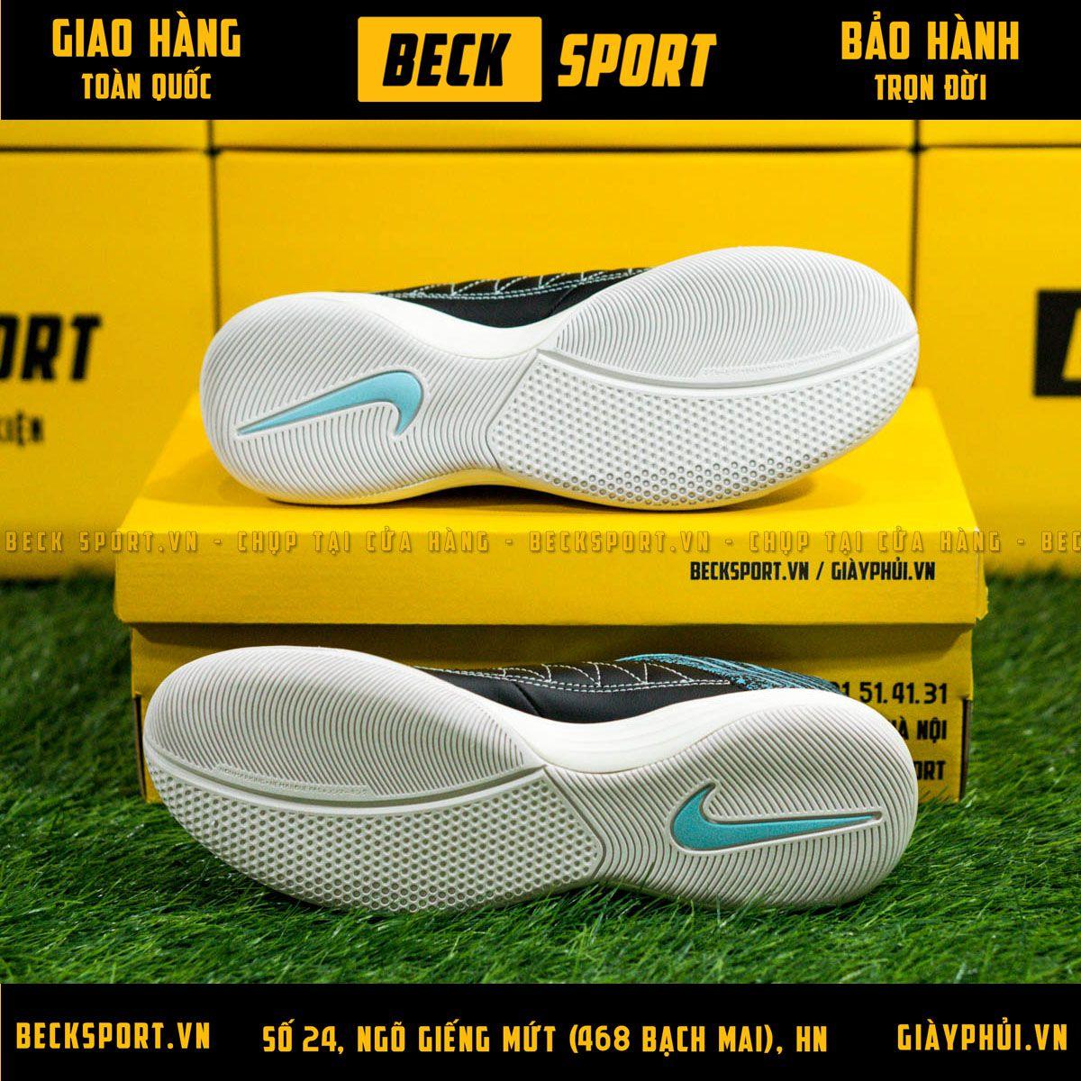 Giày Bóng Đá Nike Lunar Gato II Đen Gót Xanh Ngọc Đế Trắng IC