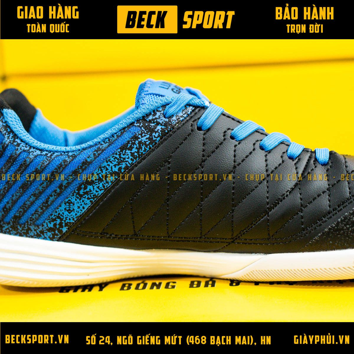 Giày Bóng Đá Nike Lunar Gato II Đen Gót Xanh Biển Đế Trắng IC