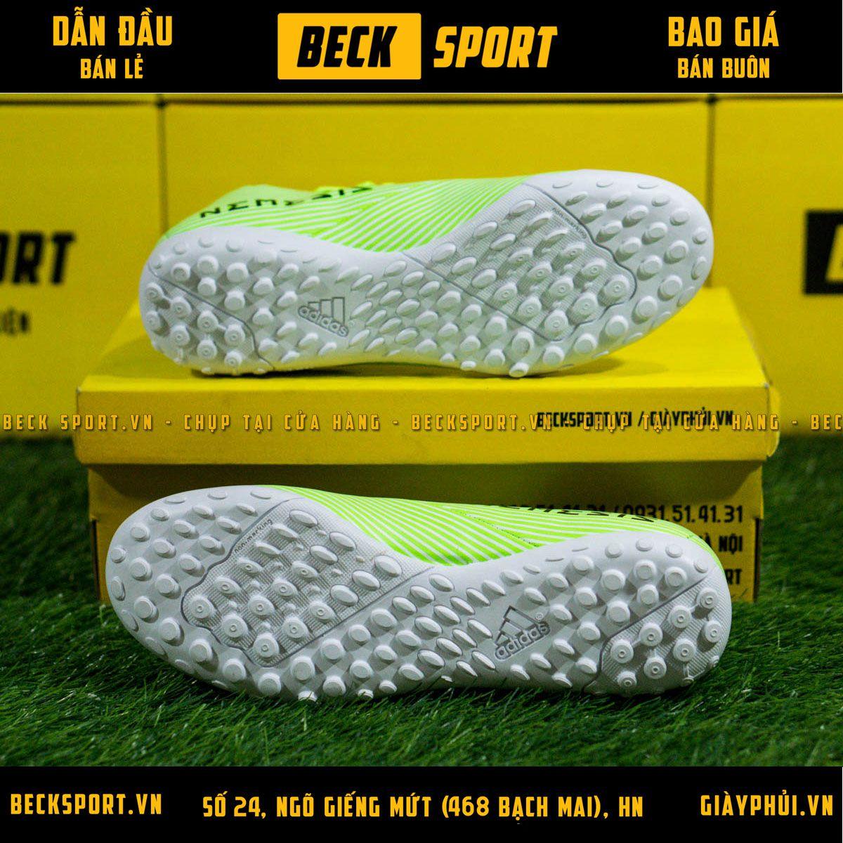Giày Bóng Đá Adidas Nemeziz 19.4 Xanh Lá Vạch Đen TF