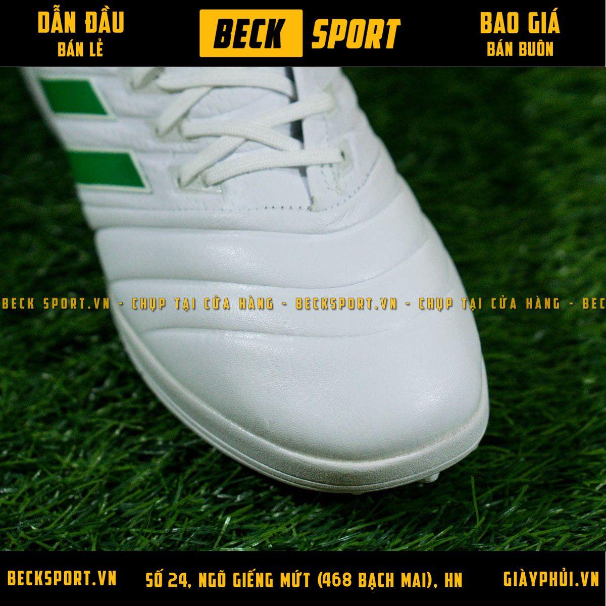 Giày Bóng Đá Adidas Copa 19.1 Trắng Vạch Xanh Lá Da Thật TF