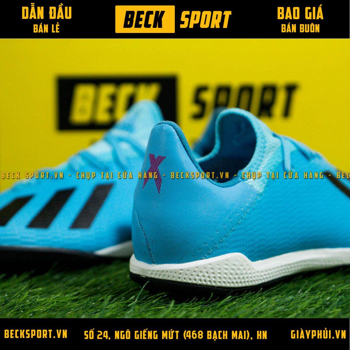Giày Bóng Đá Adidas X 19.3 Xanh Biển Vạch Đen Đế Đen HQ TF