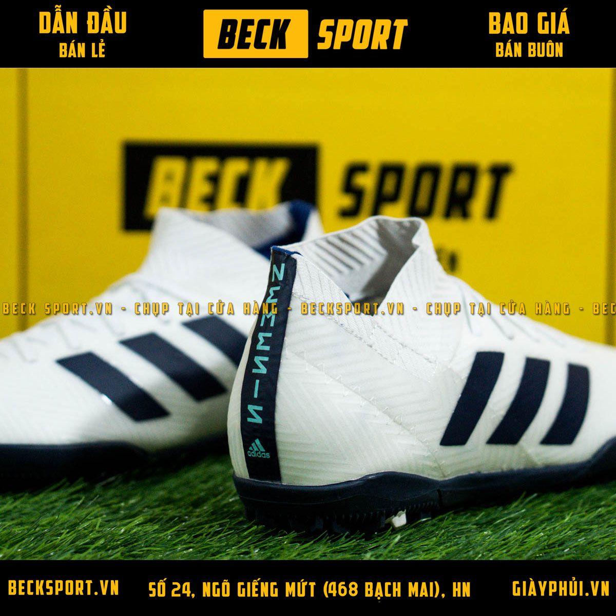 Giày Bóng Đá Adidas Nemeziz 18.3 Trắng Vạch Xanh Than Cổ chéo TF