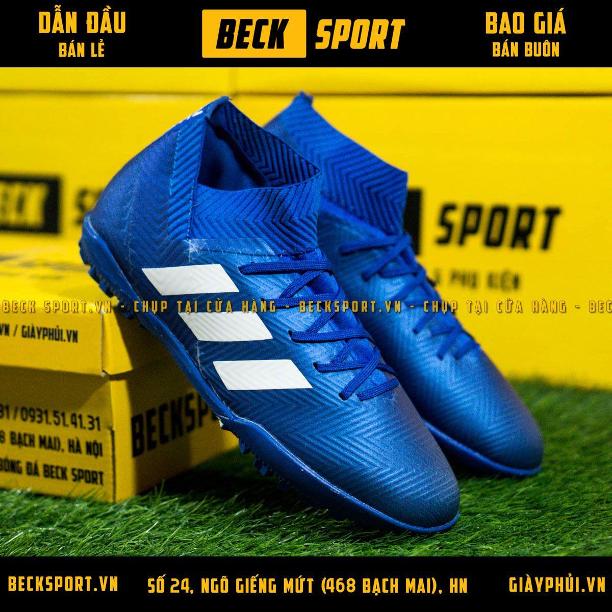 Giày Bóng Đá Adidas Nemeziz 18.3 Xanh Biển Vạch Trắng Cổ chéo TF