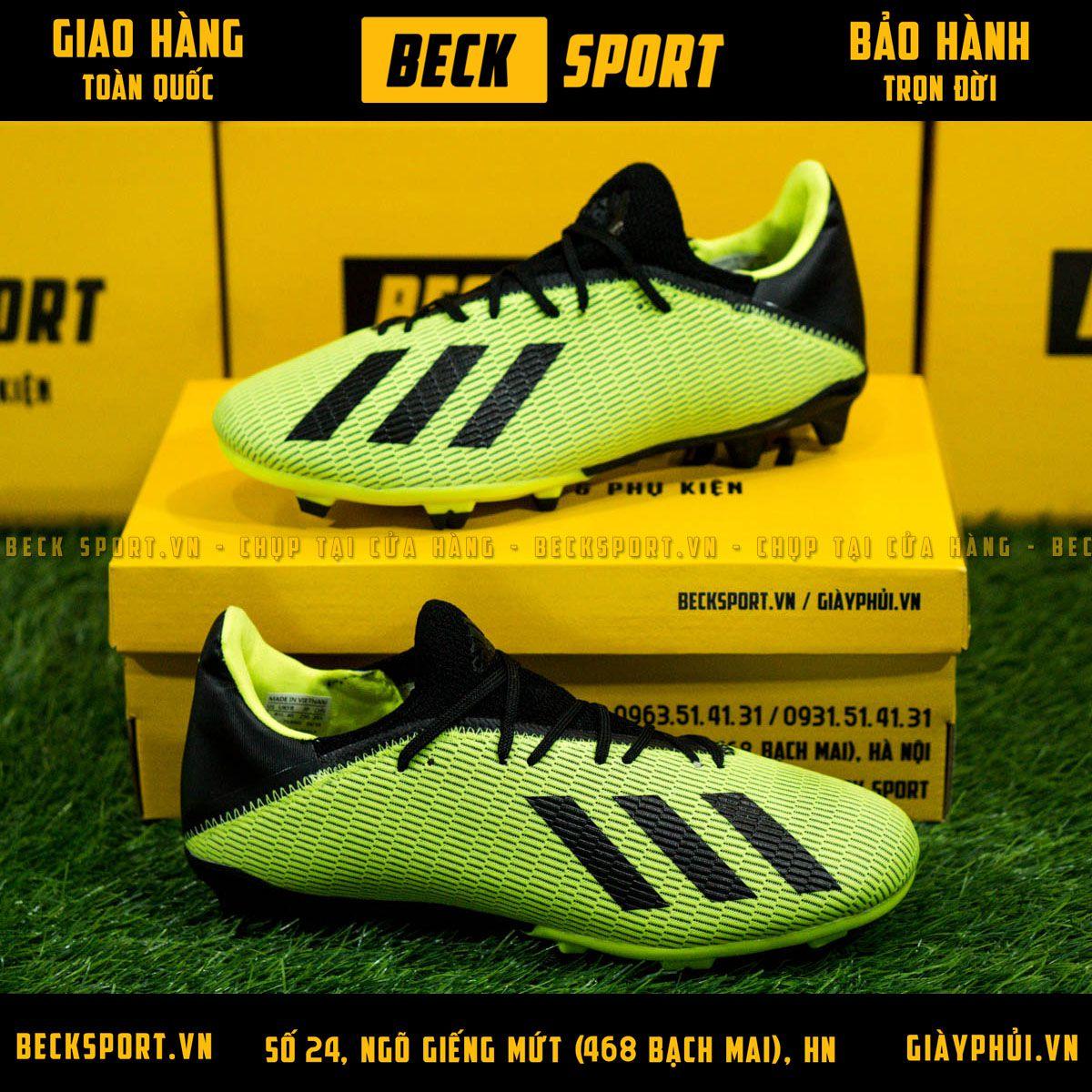 Giày Bóng Đá Adidas X 19.3 Xanh Lá Vạch Đen Gót Đen FG