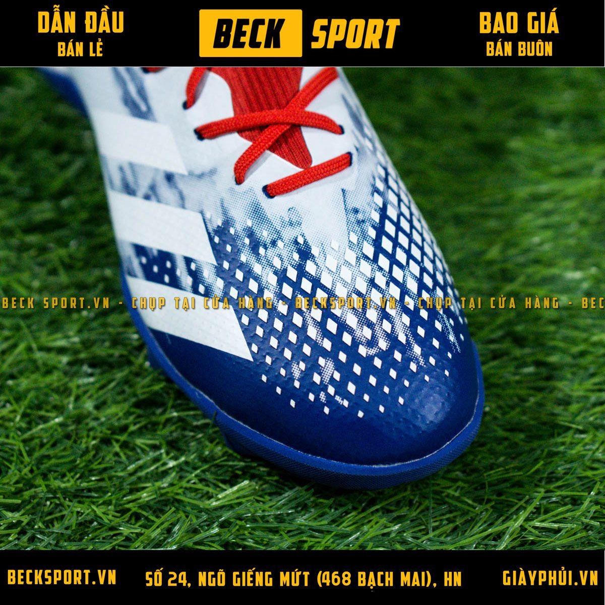 Giày Bóng Đá Adidas Predator 20.3 Trắng Xanh Biển Đỏ Vạch Trắng Cao Cổ TF