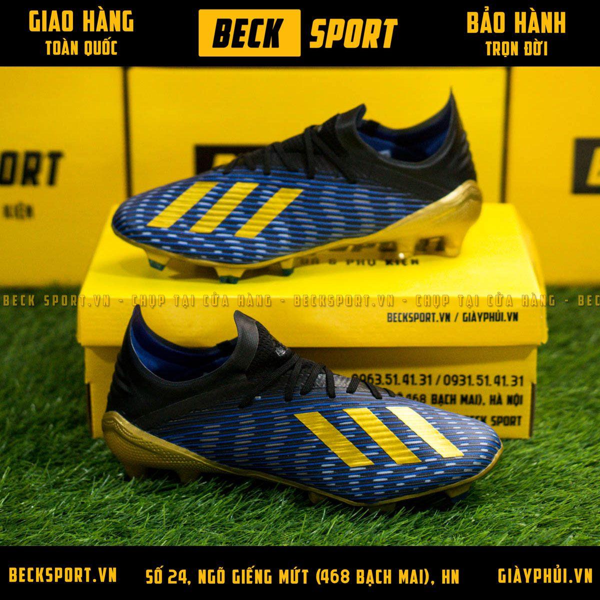 Giày Bóng Đá Adidas X 19.1 Xanh Biển Vạch Đồng Đế Đồng FG