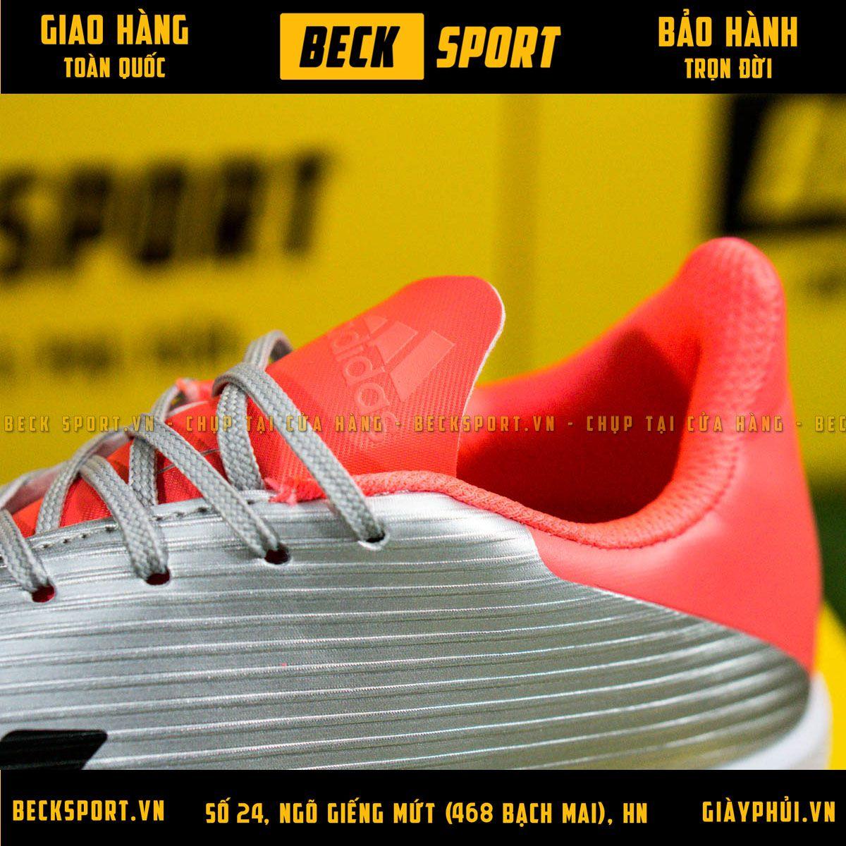 Giày Bóng Đá Adidas X 19.3 Xám Vạch Đen Gót Hồng V3 TF