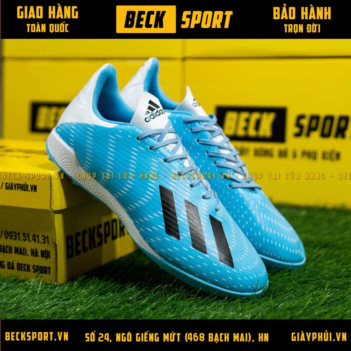 Giày Bóng Đá Adidas X 19.3 Xanh Biển Vạch Đen Gót Trắng V3 TF