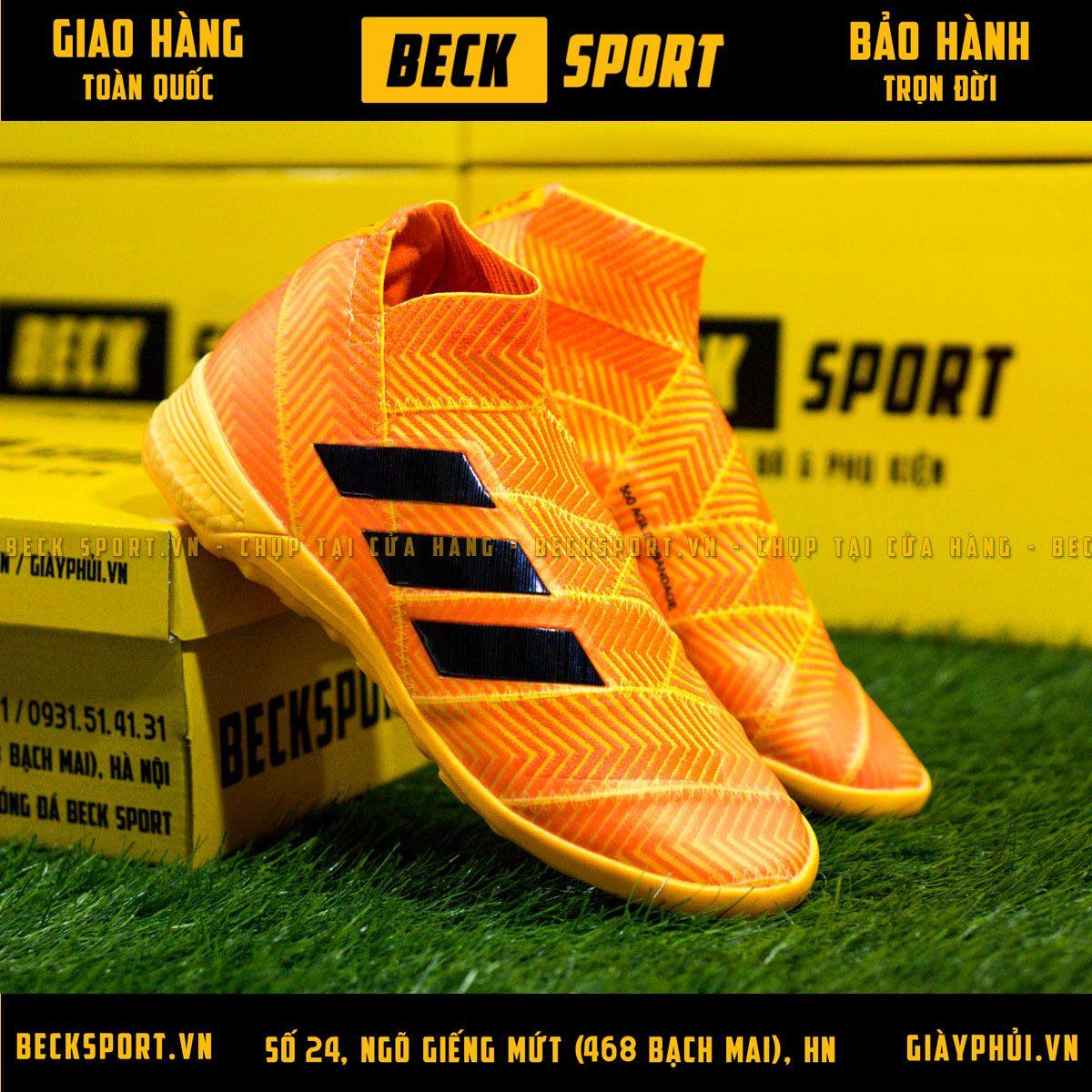 Giày Bóng Đá Adidas Nemeziz 18+ Cam Vạch Đen Không Dây IC