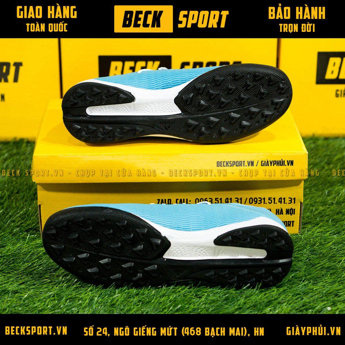 Giày Bóng Đá Adidas X 19.3 Xanh Biển Vạch Đen Đế Đen TF