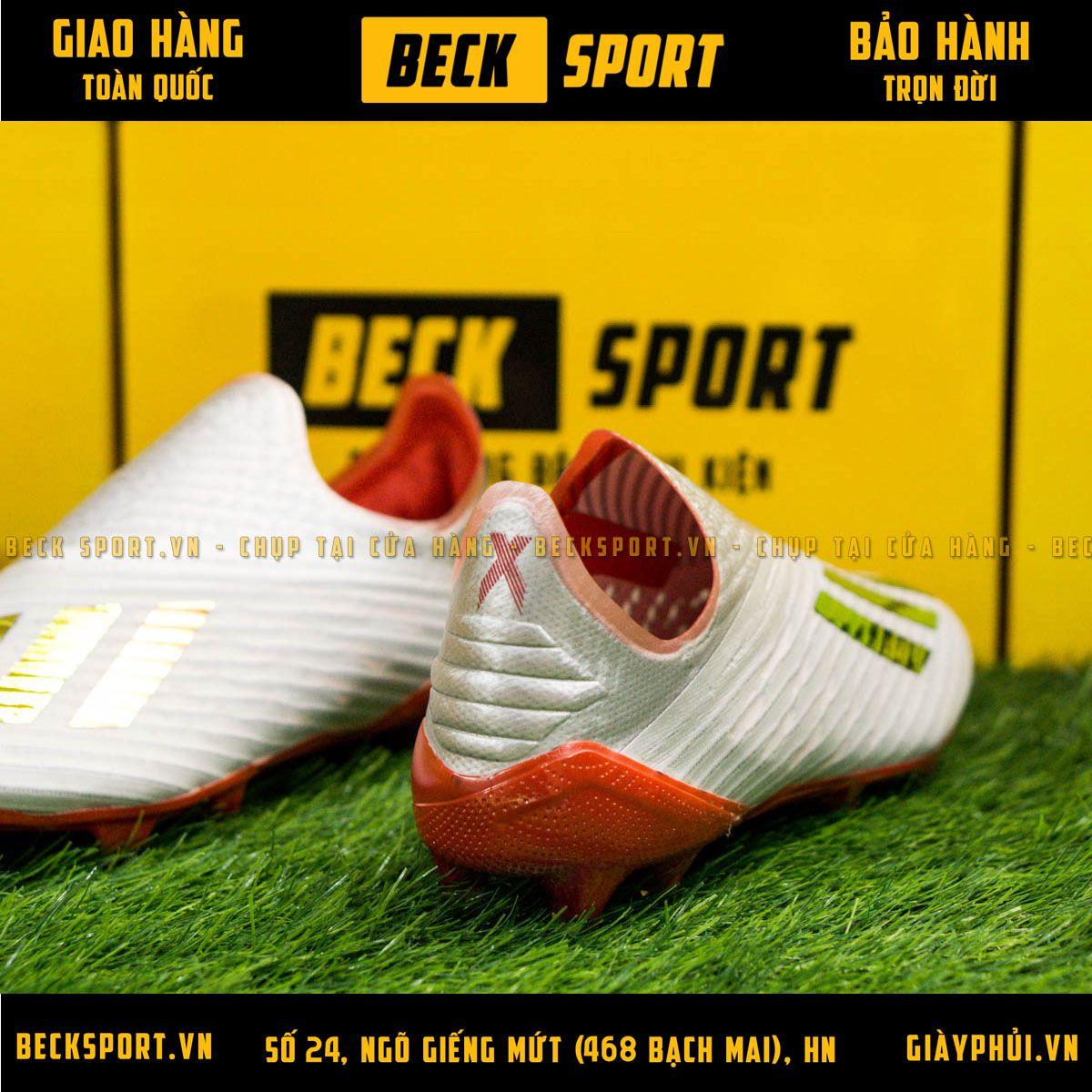 Giày Bóng Đá Adidas X 19+ Xám Vạch Bóng Đế Đỏ Không Dây FG