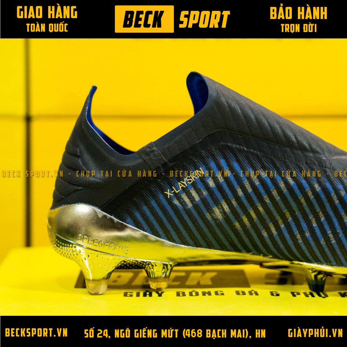 Giày Bóng Đá Adidas X 19+ Xanh Biển Vạch Đồng Đế Đồng Không Dây FG