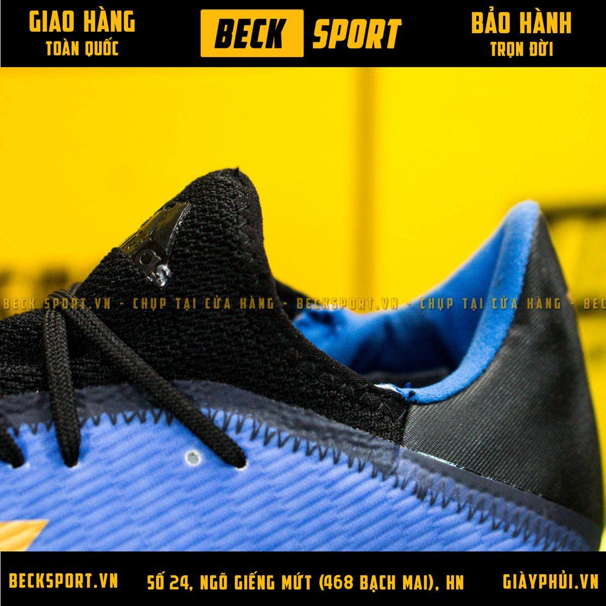 Giày Bóng Đá Adidas X 19.3 Xanh Biển Vạch Đồng Đế Đen TF