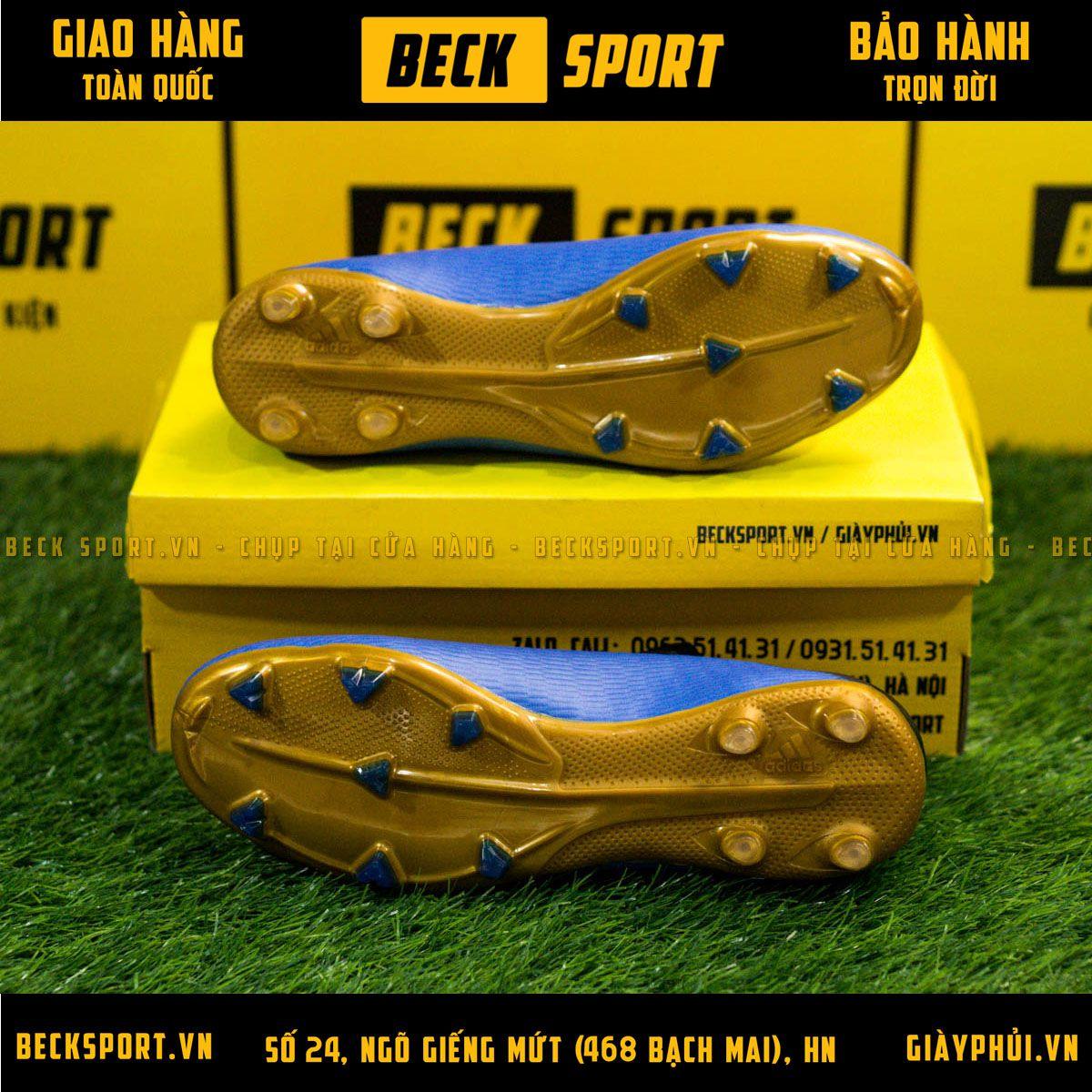 Giày Bóng Đá Adidas X 19.3 Xanh Biển Vạch Đồng FG