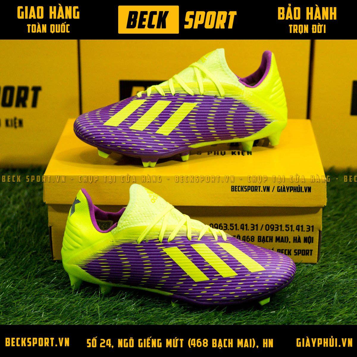 Giày Bóng Đá Adidas X 19.3 Tím Vạch Chuối Gót Chuối FG