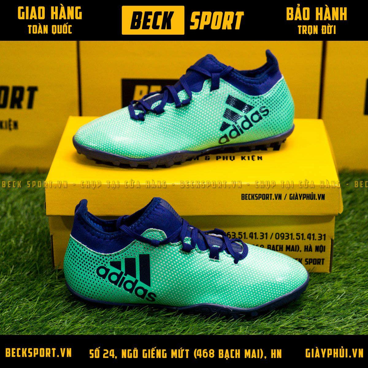 Giày Bóng Đá Adidas X 17.3 Xanh Ngọc Chấm Bi Đen TF