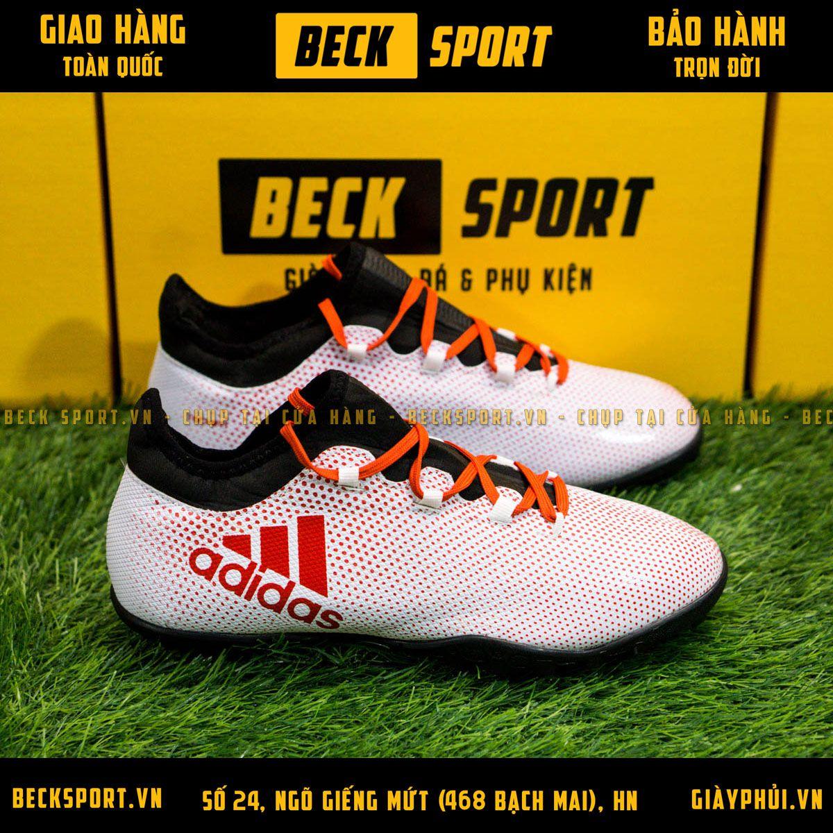 Giày Bóng Đá Adidas X 17.3 Trắng Chấm Bi Đỏ TF