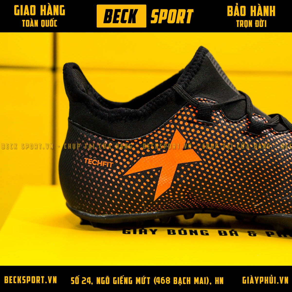 Giày Bóng Đá Adidas X 17.3 Đen Chấm Bi Cam TF