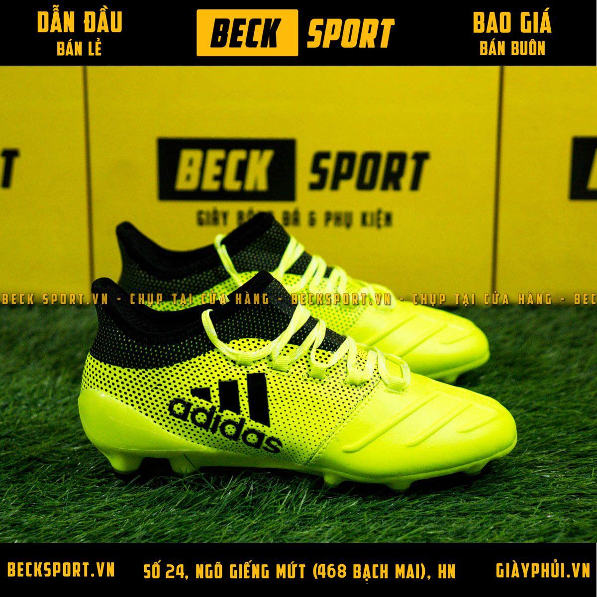 Giày Bóng Đá Trẻ Em Adidas X 17.3 Nõn Chuối Chấm Bi Đen FG