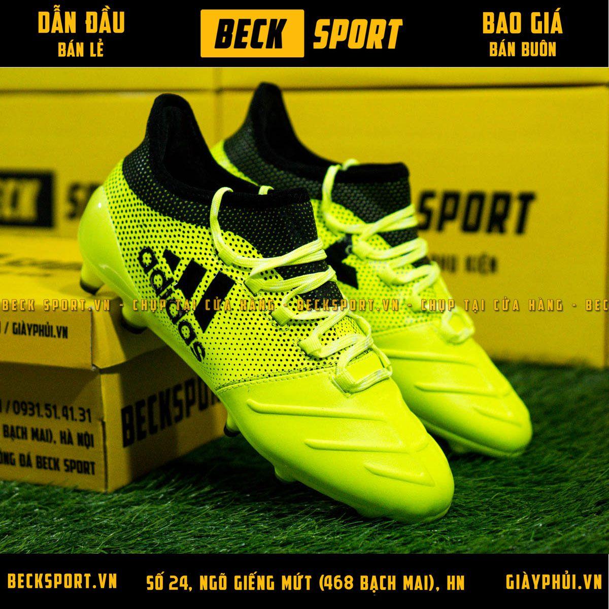 Giày Bóng Đá Adidas X 17.3 Nõn Chuối Chấm Bi Đen FG