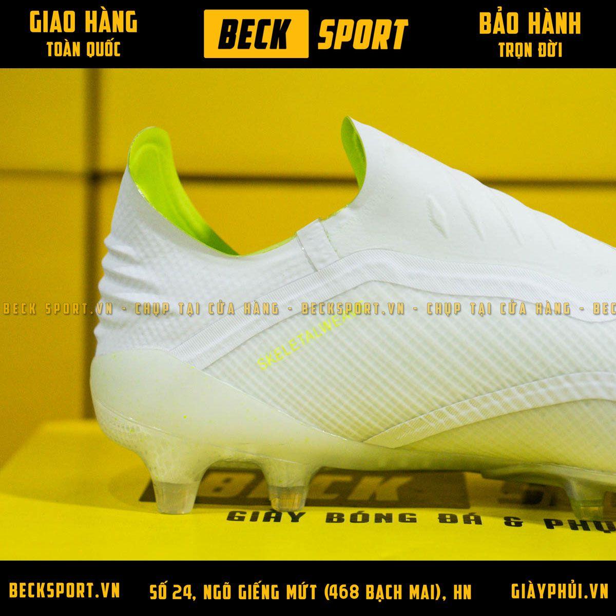 Giày Bóng Đá Adidas X 18+ Trắng Vạch Nõn Chuối Không Dây FG