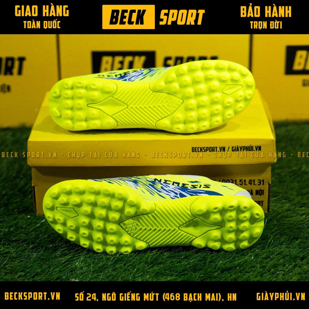 Giày Bóng Đá Adidas Nemeziz 19.3 Trắng Nõn Chuối Vạch Đen Đế Chuối TF