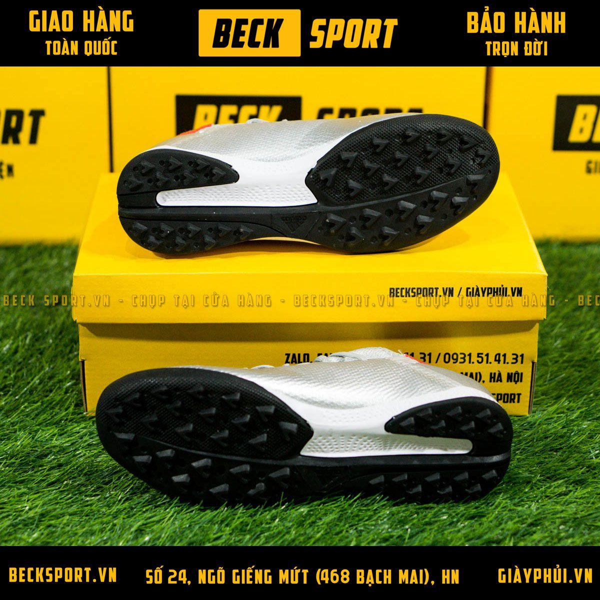 Giày Bóng Đá Adidas X 19.3 Bạc Vạch Đỏ Đế Đen TF