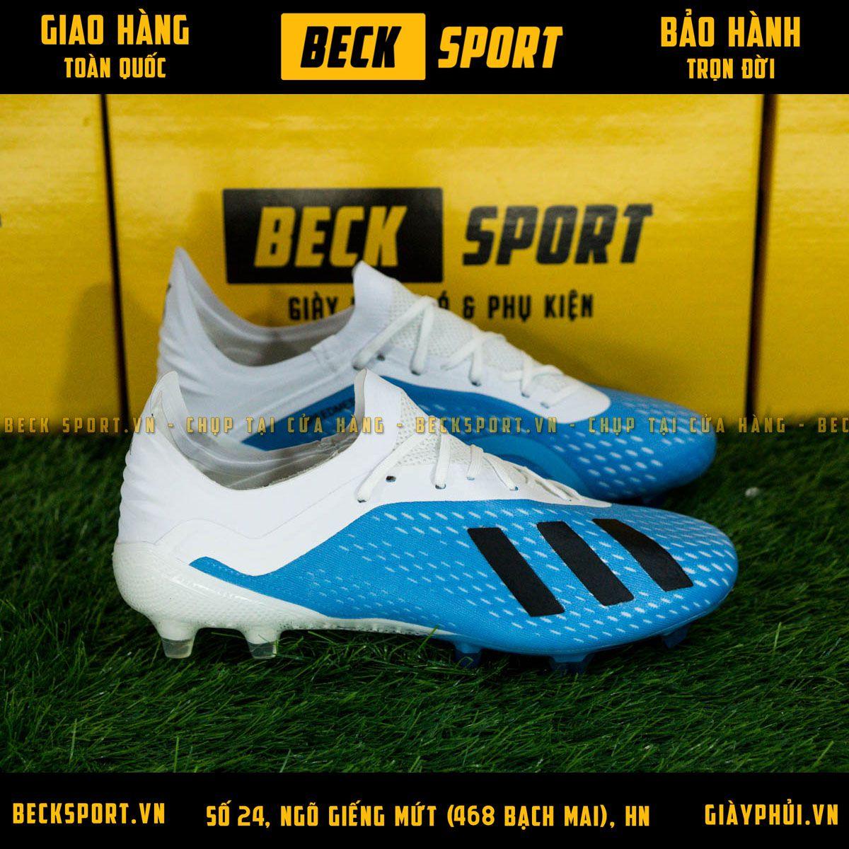 Giày Bóng Đá Adidas X 18.1 Xanh Biển Vạch Đen Gót Trắng FG
