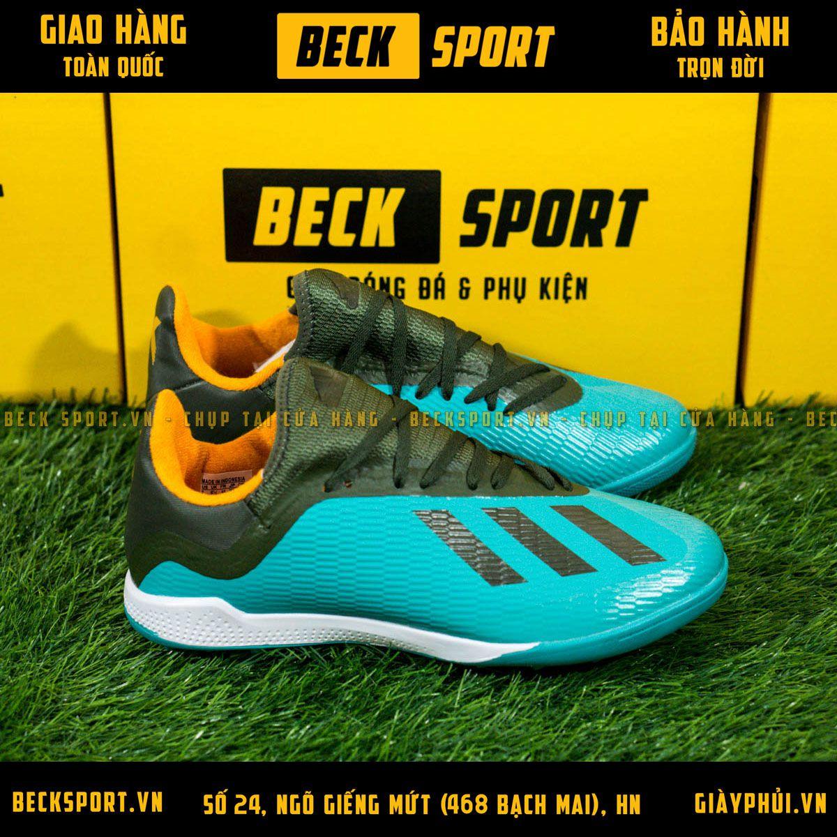 Giày Bóng Đá Adidas X 19.3 Xanh Bích Vạch Rêu TF