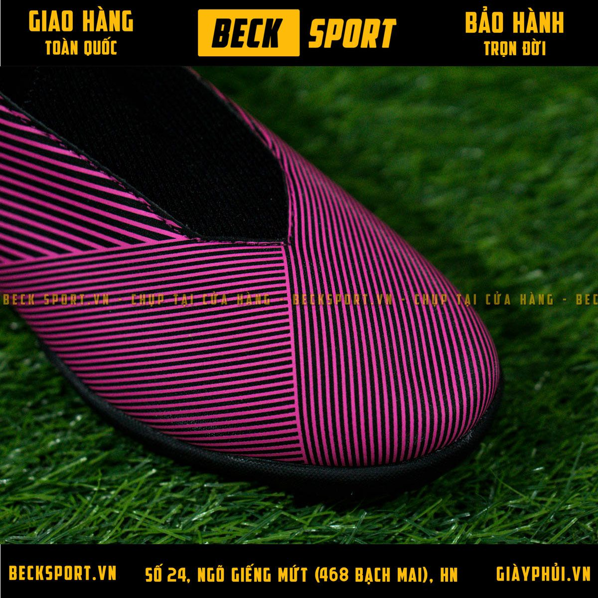 Giày Bóng Đá Adidas Nemeziz 19.3 Laceless Hồng Vạch Trắng Không Dây TF