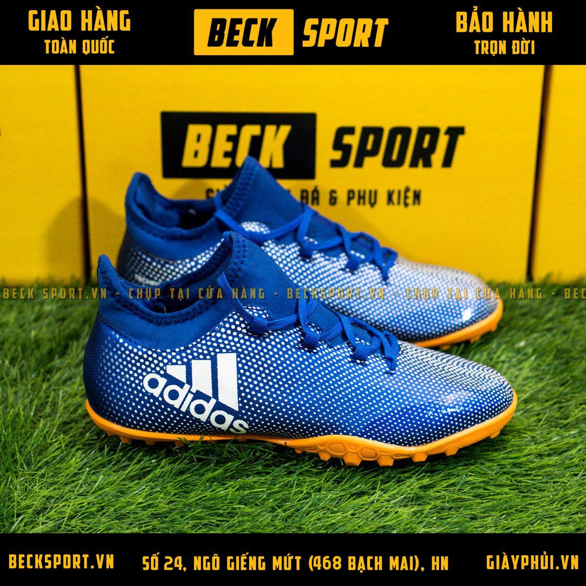 Giày Bóng Đá Adidas X 17.3 Xanh Biển Chấm Bi Trắng TF