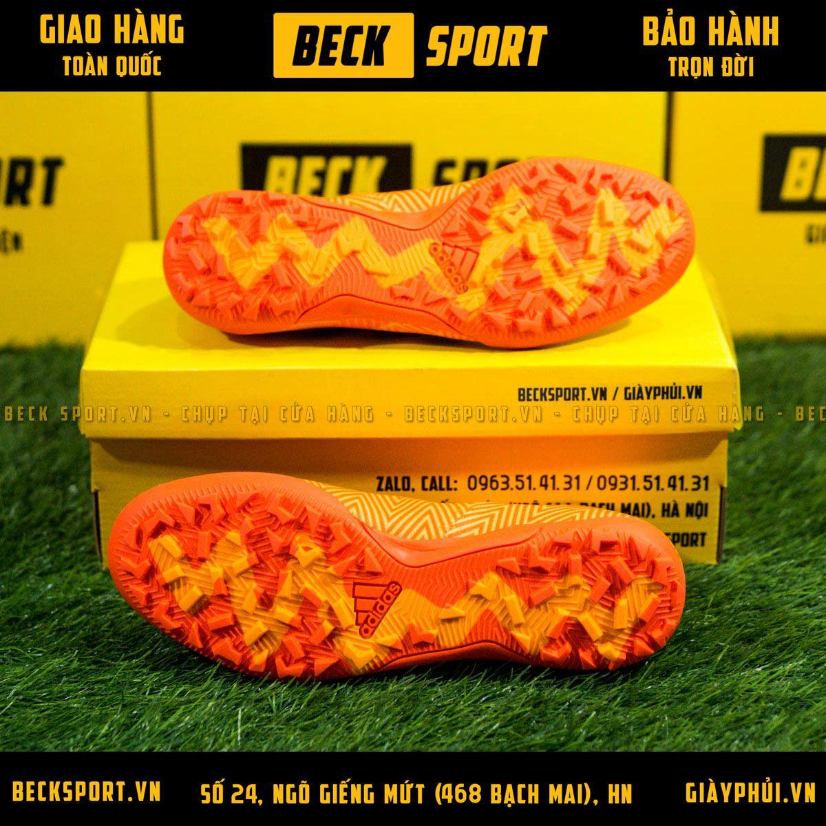 Giày Bóng Đá Adidas Nemeziz 18.3 Cam Vạch Đen Cổ Chéo TF