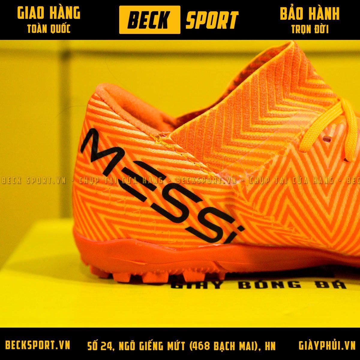 Giày Bóng Đá Adidas Nemeziz Messi 18.3 Cam Vạch Đen Chữ Đen TF