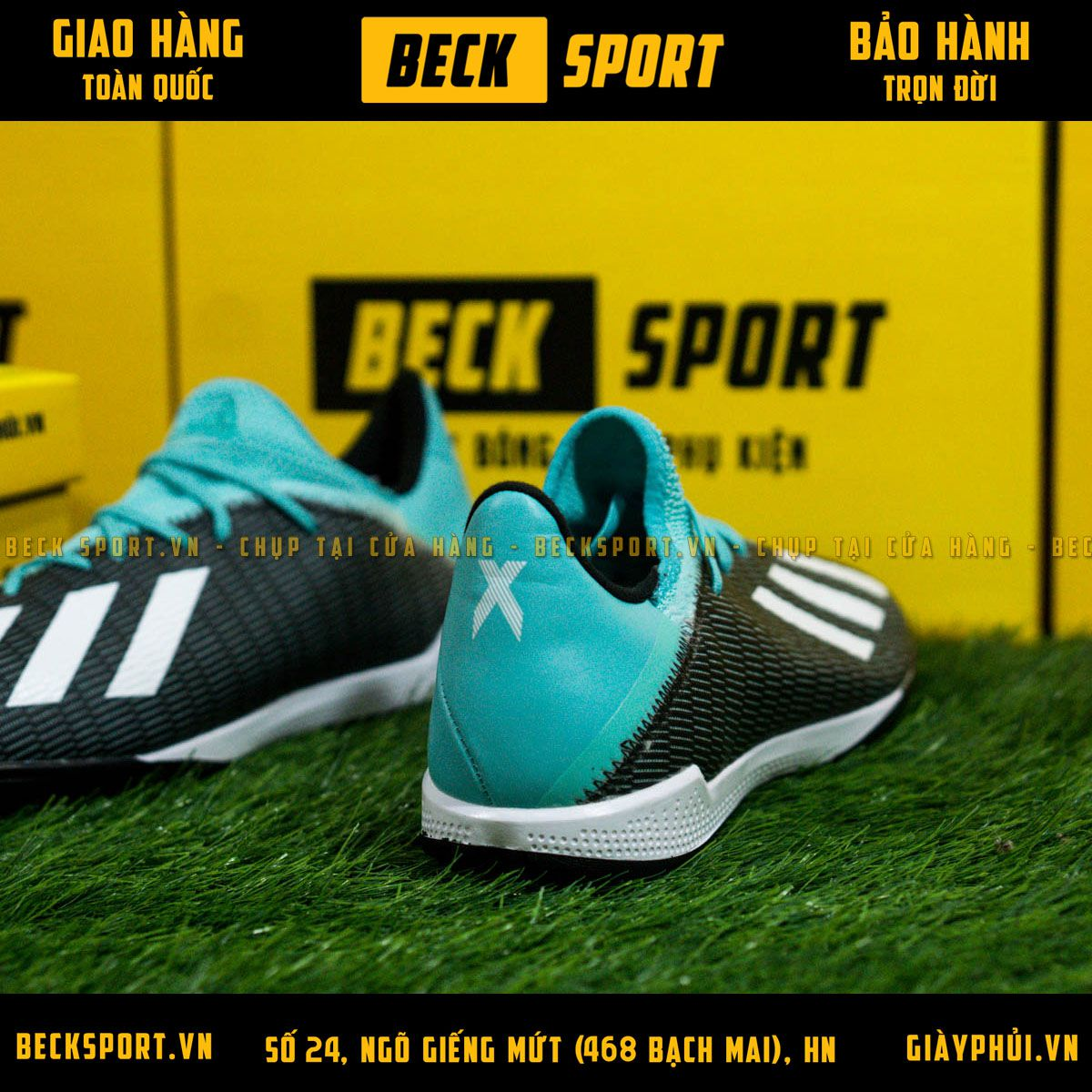 Giày Bóng Đá Adidas X 19.3 Đen Vạch Trắng Cổ Xanh TF