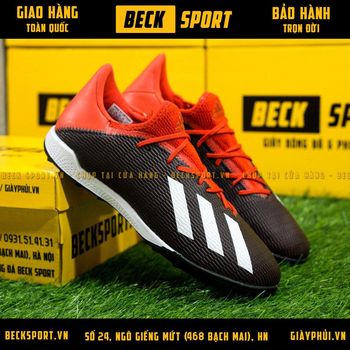 Giày Bóng Đá Adidas X 19.3 Đen Đỏ Vạch Trắng TF