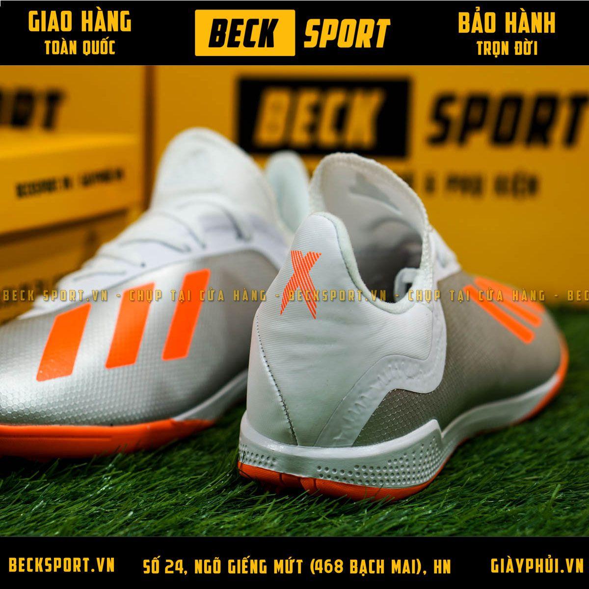 Giày Bóng Đá Adidas X 18.3 Xám Vạch Cam TF