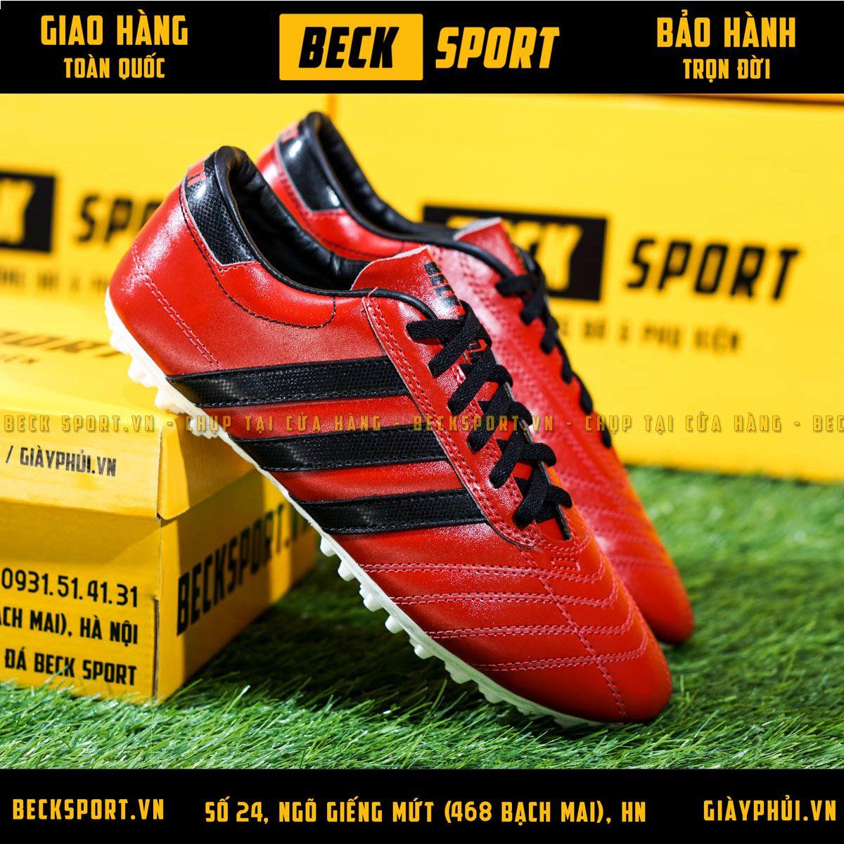 Giày Phủi 3 Sọc Loại 1 - Beck Đỏ Sọc Đen
