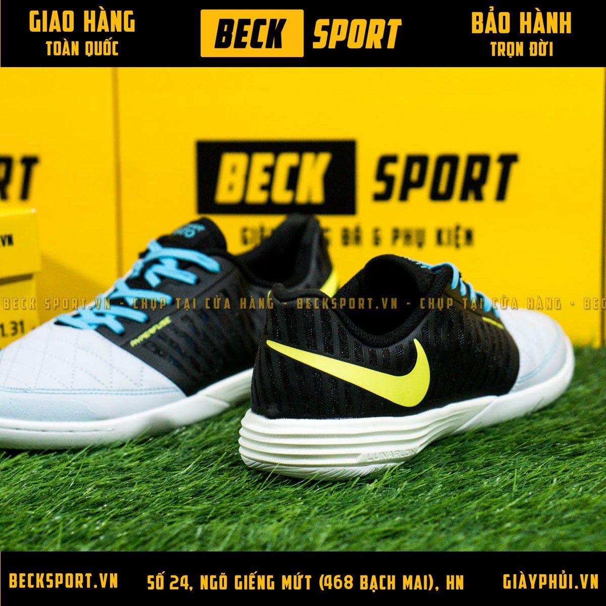 Giày Bóng Đá Nike Lunar Gato Xám Vạch Chuối Gót Đen IC