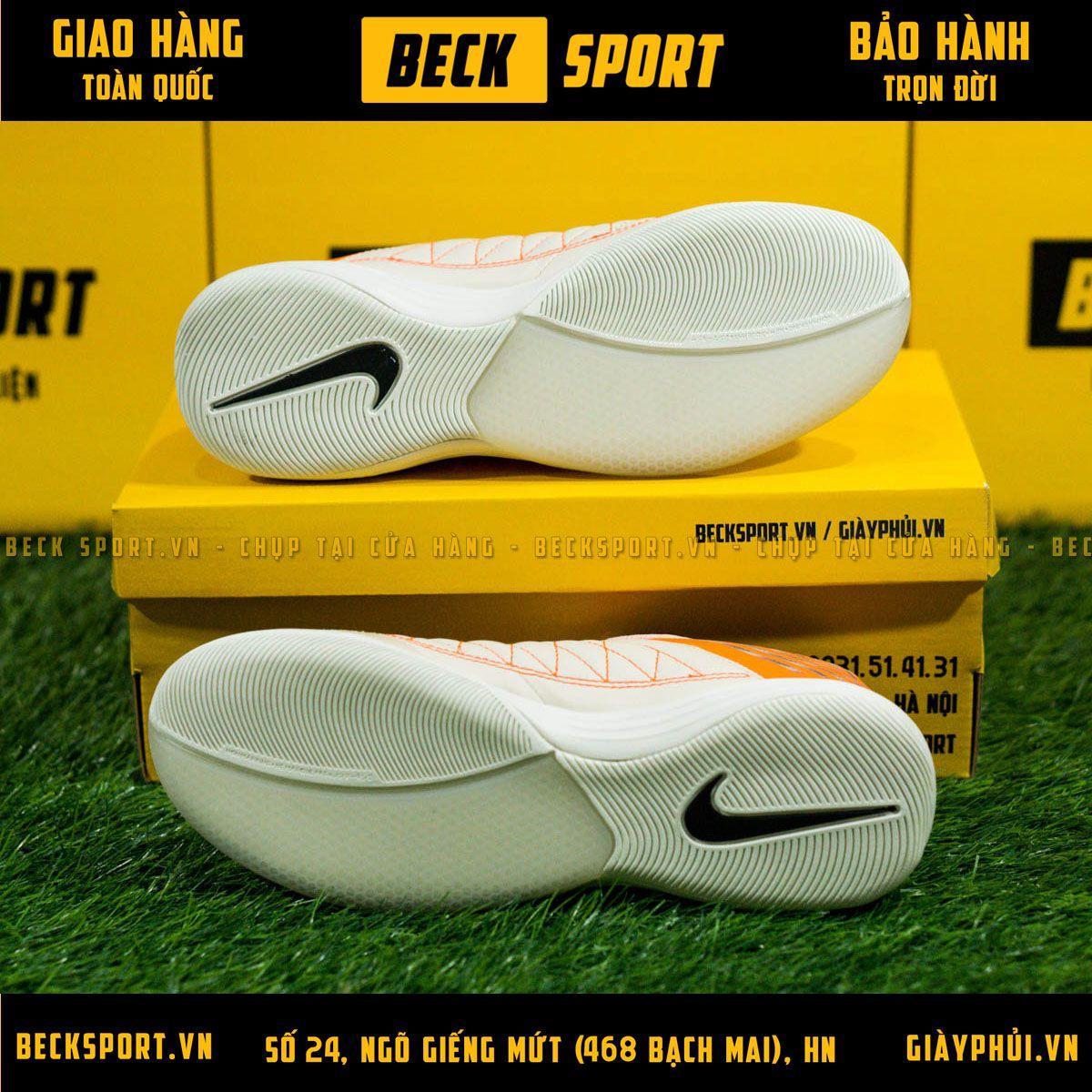 Giày Bóng Đá Nike Lunar Gato Trắng Ngà Gót Cam IC