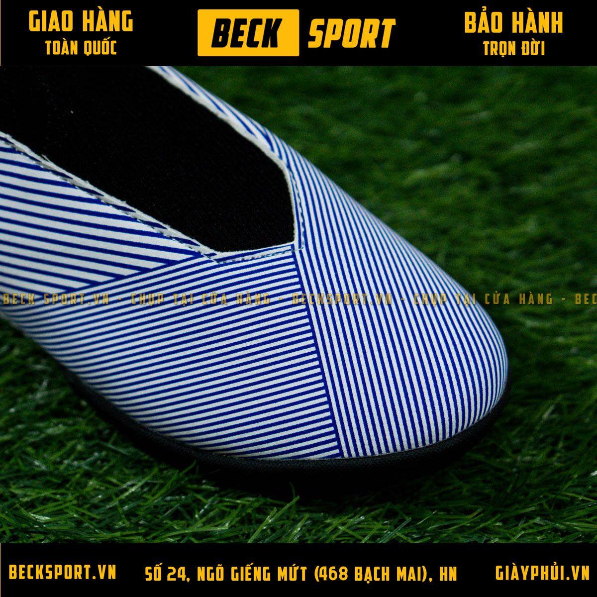 Giày Bóng Đá Adidas Nemeziz 19.3 Laceless Trắng Vạch Xanh Than Không Dây TF