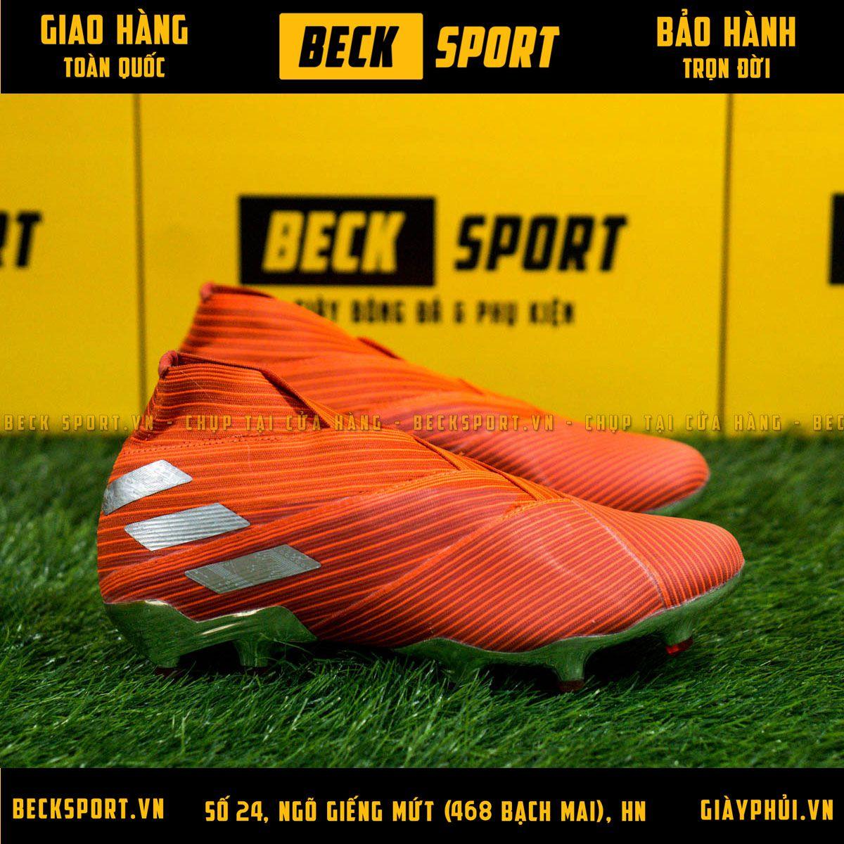Giày Bóng Đá Adidas Nemeziz 19+ Đỏ Vạch Xám Không Dây FG