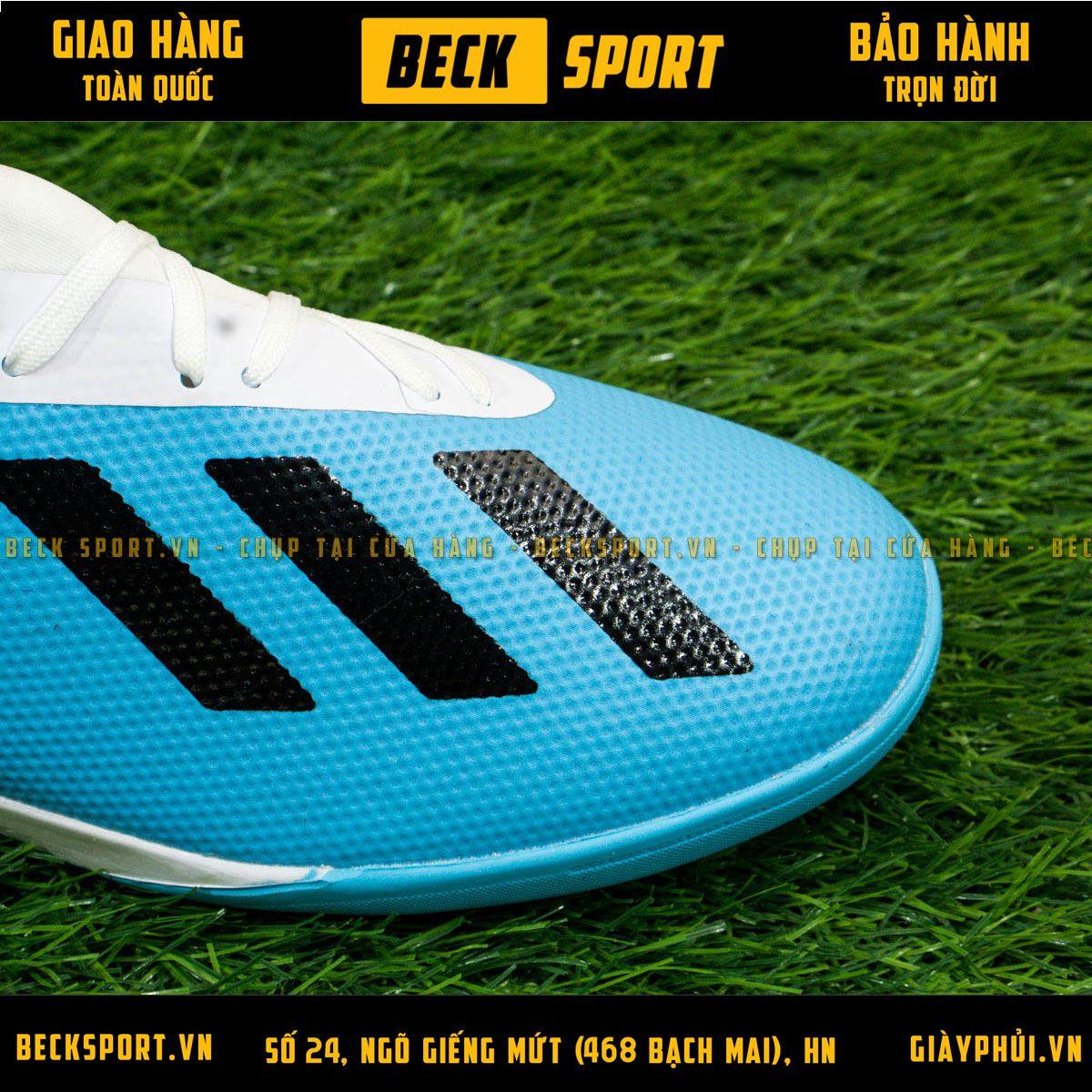 Giày Bóng Đá Adidas X  18.3 Xanh Biển Gót Trắng TF