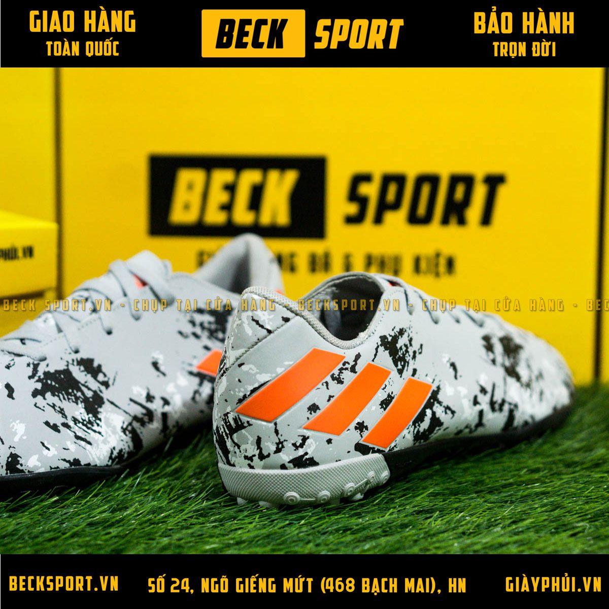 Giày Bóng Đá Adidas Nemeziz 19.4 Xám Vạch Cam Đế Đen TF