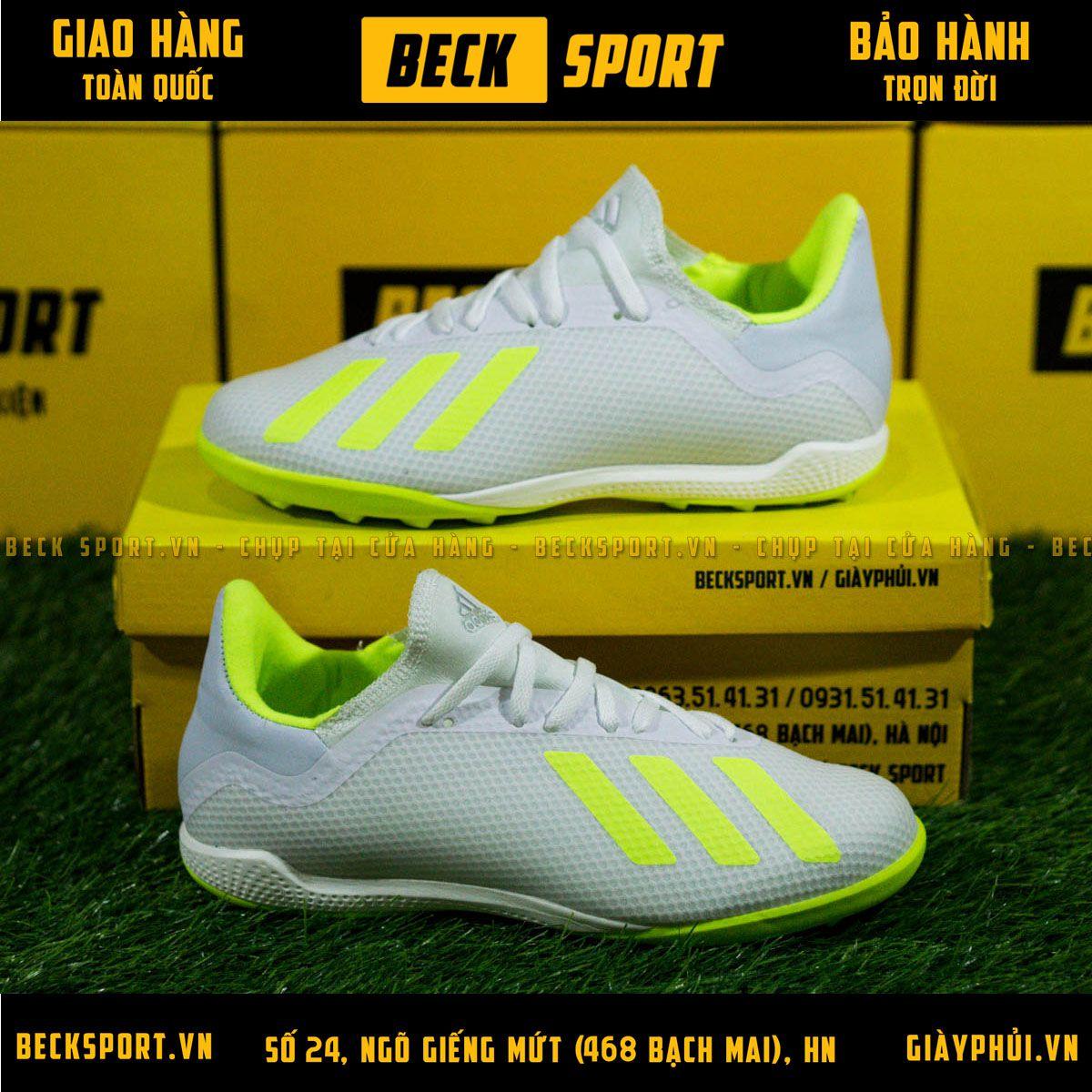 Giày Bóng Đá Adidas X 18.3 Trắng Vạch Chuối Đế Chuối TF