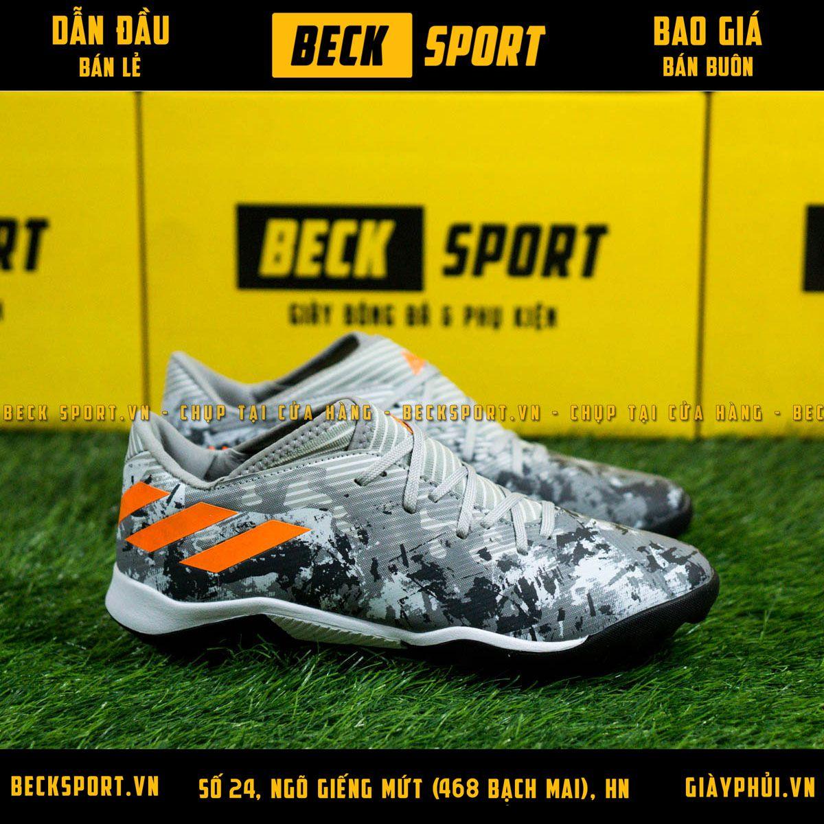 Giày Bóng Đá Adidas Nemeziz 19.3 Xám Đen Vạch Cam TF