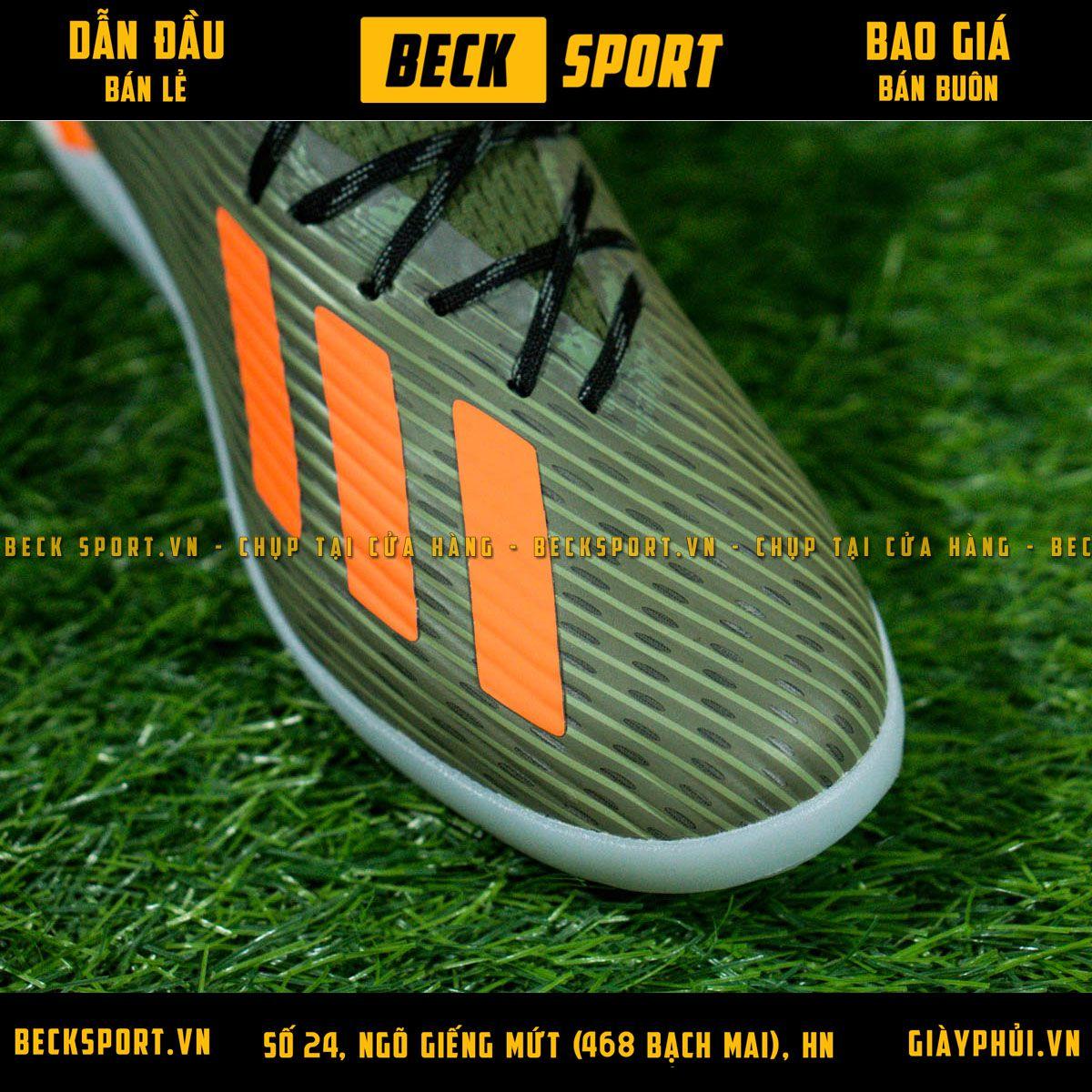 Giày Bóng Đá Adidas X 19.1 Xanh Rêu Vạch Cam Gót Rằn Ri V2 TF
